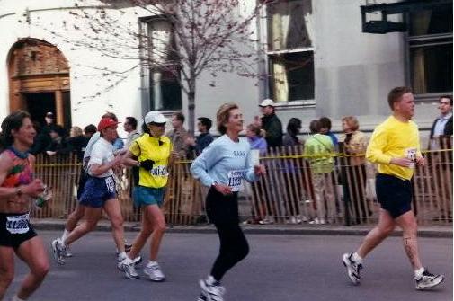 Barb crossing Boston Marathon finish 2000 copy
